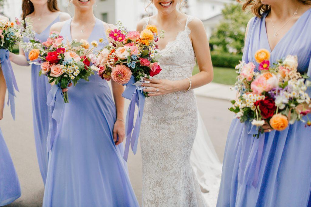 bride and florals