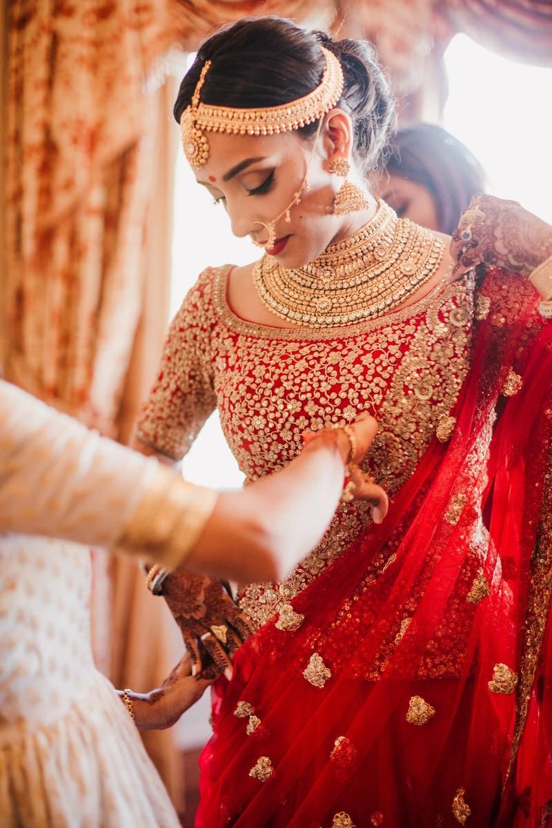 punjabi bride getting dressed